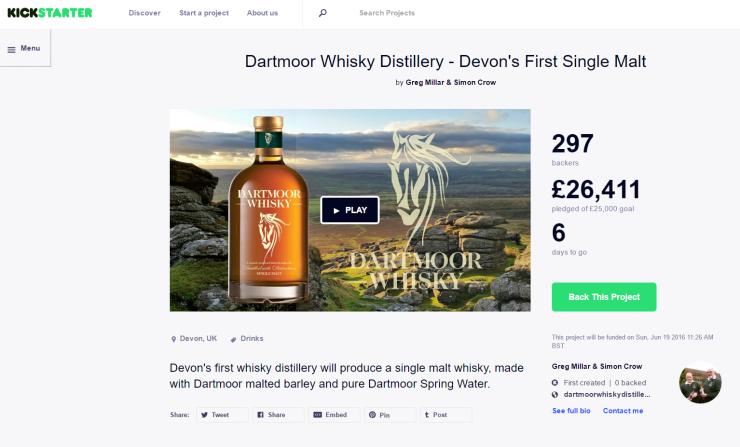 Target reached on Kickstarter - Dartmoor Whisky Distillery